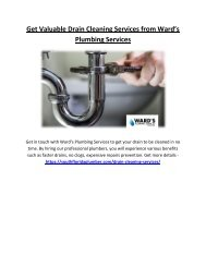 Get Valuable Drain Cleaning Services from Ward's Plumbing Services