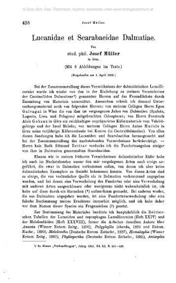 Lucanidae et Scarabaeidae Dalmatiae.