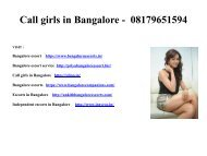 Call girls in Bangalore -  08179651594