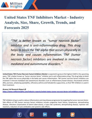 United States TNF Inhibitors Market Segmented by Material, Type, Application, and Geography - Growth, Trends and Forecast 2025