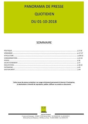 Panorama de presse quotidien du 01-10-2018