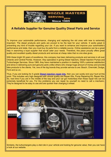 A Reliable Supplier for Genuine Quality Diesel Parts and Service