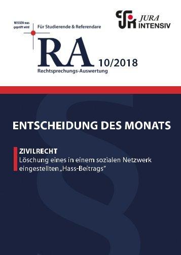 RA 10/2018 - Entscheidung des Monats