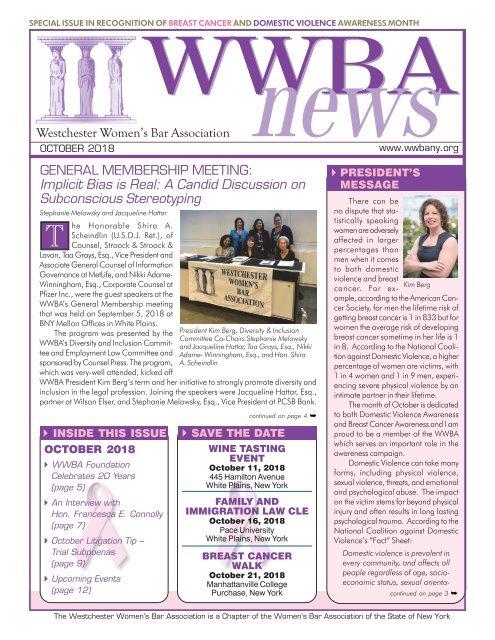 WWBA October 2018 Newsletter