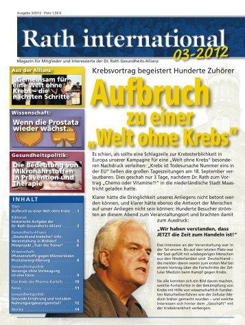 """zu einer """"Welt ohne Krebs"""" Aufbruch - Dr. Rath Gesundheits-Allianz"""