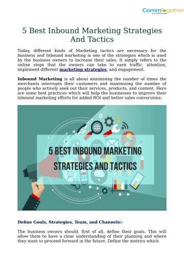 5 Best Inbound Marketing Strategies And Tactics