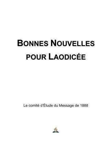 Bonnes Nouvelles pour Laodicée - Le comité d'Étude du Message de 1888