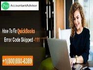 QuickBooks File Repair- Error Skipped -111