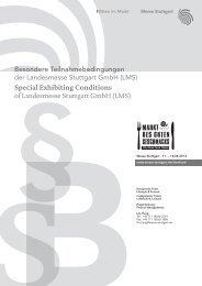 Special Exhibiting Conditions - Messe Stuttgart