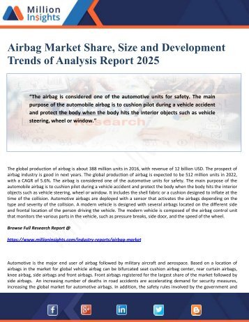 Airbag Market Share, Size and Development Trends of Analysis Report 2025