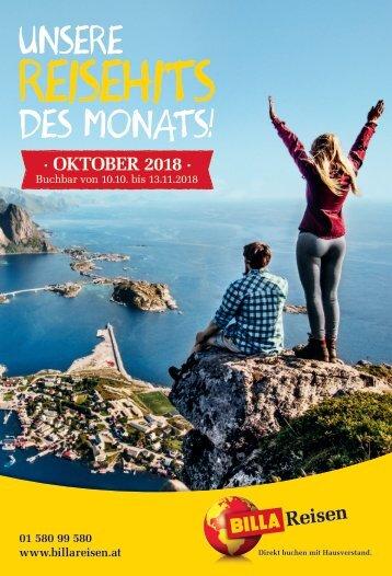 BILLA Reisen Reisehits Oktober 2018