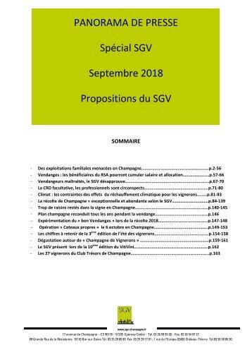 Panorama de presse Spécial SGV  septembre  2018
