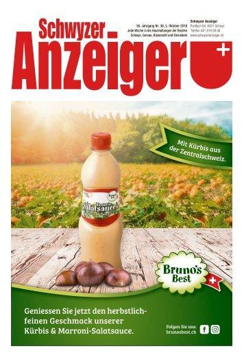 Schwyzer Anzeiger – Woche 40 – 5. Oktober 2018