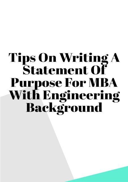 Writing the Statement of Purpose