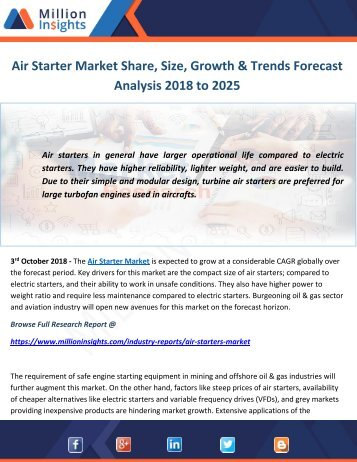 Air Starter Market Share, Size, Growth & Trends Forecast Analysis 2018 to 2025