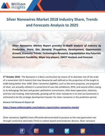 Silver Nanowires Market 2018 Industry Share, Trends and Forecasts Analysis to 2025