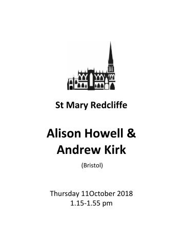 St Mary Redcliffe Church Free Lunchtime Organ Cencert - October 11 2018 (Alison Howell and Andrew Kirk )