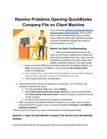 Resolve Problems Opening your Company File on Client machine