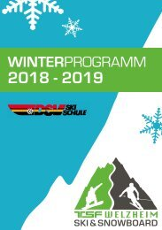 Winterprogramm Ski und Snowboard 2018/2019