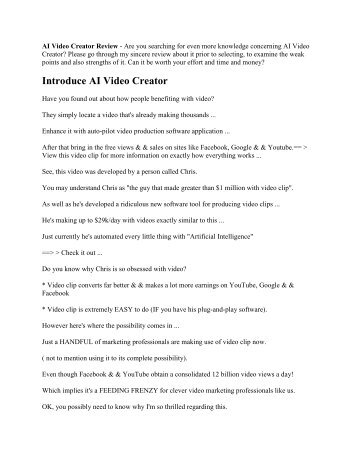 AI Video Creator Review Do we like it
