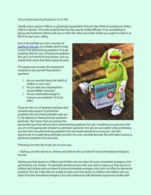 About Administering Paediatric First Aid
