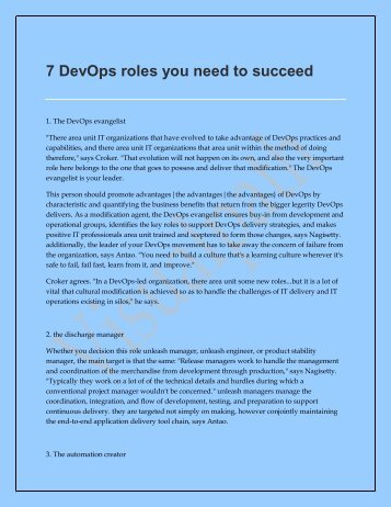 7 DevOps roles you need to succeed | DevOps Online Training