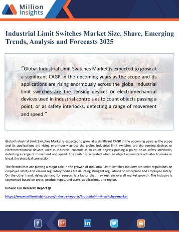 Industrial Limit Switches Market Size, Share, Emerging Trends, Analysis and Forecasts 2025