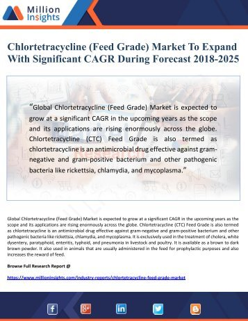 Chlortetracycline (Feed Grade) Market To Expand With Significant CAGR During Forecast 2018-2025