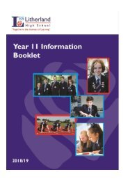 LHS Year 11 Information Booklet 2018 - 19