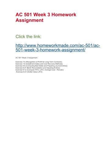 AC 501 Week 3 Homework Assignment