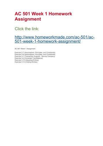 AC 501 Week 1 Homework Assignment