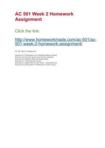AC 501 Week 2 Homework Assignment