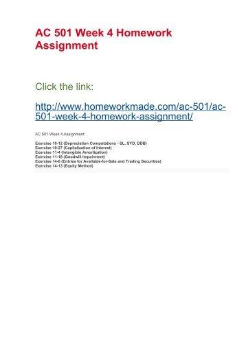 AC 501 Week 4 Homework Assignment