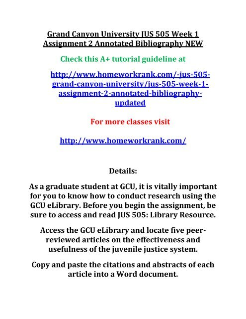 gcu annotated bibliography