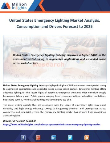 United States Emergency Lighting Market Analysis, Consumption and Drivers Forecast to 2025