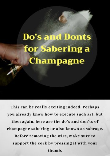 Use Champagne Sabre for Sabering a Champagne
