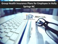 Group Health Insurance Plans for Employee in Holly Springs NC