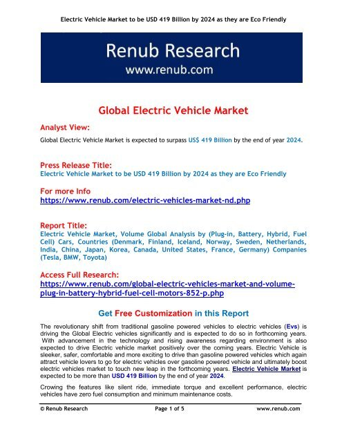 Electric Vehicle Market to be USD 419 Billion by 2024 as they