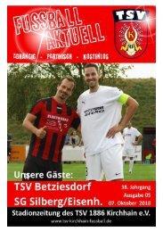 07.10.2018 Stadionzeitung - SG Silberg/Eisenhausen / TSV Betziesdorf