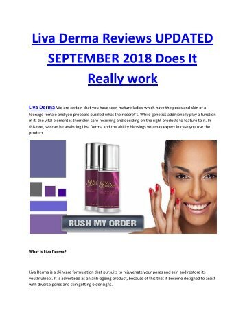 Liva Derma Reviews UPDATED SEPTEMBER 2018 Does It Really work-converted