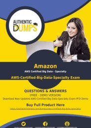 AWS-Certified-Big-Data-Specialty - Learn with Valid Amazon AWS-Certified-Big-Data-Specialty Exam Dumps [2018] - Latest AWS-Certified-Big-Data-Specialty PDF Questions