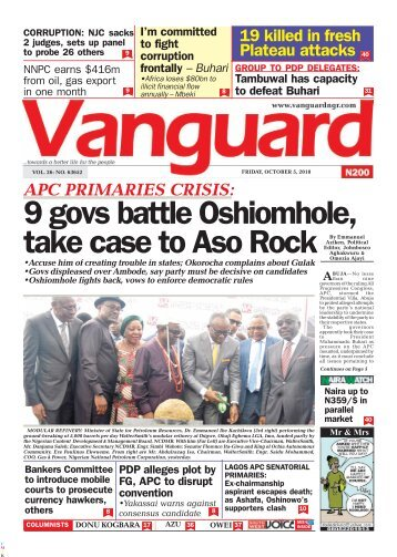 05102018 - APC PRIMARIES CRISIS: 9 govs battle Oshiomhole, take case to Aso Rock