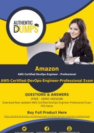 AWS-Certified-DevOps-Engineer-Professional PDF Dumps | Latest Amazon AWS-Certified-DevOps-Engineer-Professional Exam Questions | 100% Valid