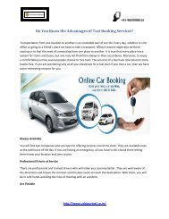 Do You Know the Advantages of Taxi Booking Services