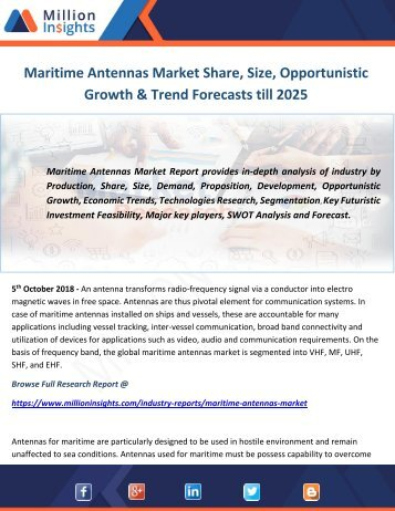 Maritime Antennas Market Share, Size, Opportunistic Growth & Trend Forecasts till 2025