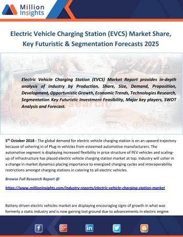 Electric Vehicle Charging Station (EVCS) Market Share, Key Futuristic & Segmentation Forecasts 2025