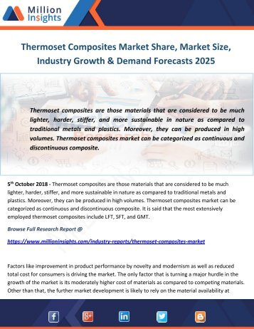 Thermoset Composites Market Share, Market Size, Industry Growth & Demand Forecasts 2025