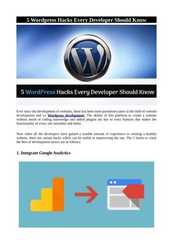 5 Wordpress Hacks Every Developer Should Know
