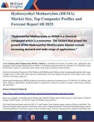 Hydroxyethyl Methacrylate (HEMA) Market Size, Top Companies Profiles and Forecast Report till 2025