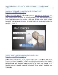 Supplier of Talc Powder in India Indonesia Surabaya PRM